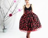 Cloting Gift, Midi Skirt, Rockabilly Skirt, 50's skirt, Cherry Skirt, Circle Skirt, Plus Size Skirt, High Waisted Skirt, Plus Size 50's