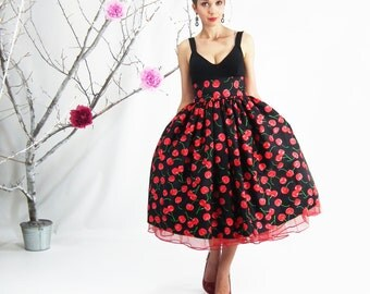 Midi Skirt - Rockabilly Skirt, 50's skirt, Cherry Skirt, Full Circle Skirt, Plus Size Skirt, High Waisted Skirt, Plus Size 50's Skirt