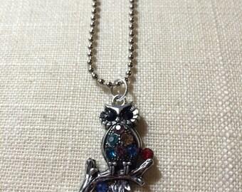 Silver Owl Rhinestone Charm Necklace