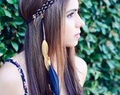 THE DYANI - Black Gold Tribal Side Feather Headband, Bohemian, Hipster, Festival, Feather Headdress, Native American Headdress Pocahontas