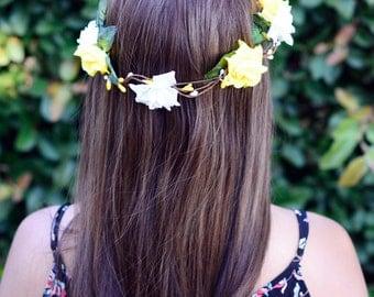 "THE ""ANJA"" White Yellow Flower Crown Floral Wreath Woodland Rustic Circlet Bride Wedding Romantic Elegant Flower Girl  Prom Tiara"