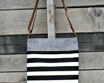 Crossbody Bag, Denim, Black and White Stripe, Genuine Leather, Everyday Purse, Adjustable Strap