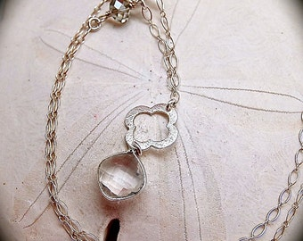 Brushed Silver Flower and Crystal Necklace