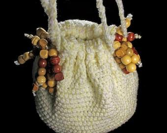 Handbag, Hobo Bag, Boho Chic, Drawstring Bag, Yellow and White, Beaded