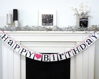 Happy Birthday / Birthday Party Banner / Rustic Sign / Happy Birthday Decor / Photo Prop / Office Party / Birthday Party / Kids Birthday