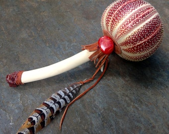 Shamanic Healing Rattle, Mimosa, Sea Urchin, Red Calcite, Coral, Wolf, Shaker, Musical, Energy Healing, Native American