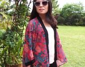 Floral Burst - Bright Red / Pink Kimono Jacket - Blue / Green Flowers