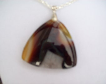 Yellow/Brown/Black and Geode Agate Pendant
