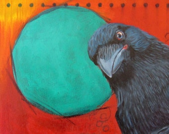 CURIOUS RAVEN -  raven, crow, native american, indian, corvid, love