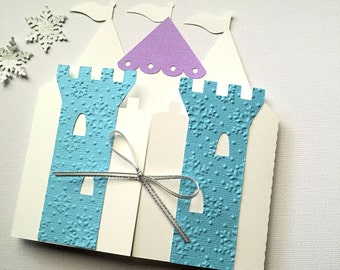 Ice Queen Princess Castle Invitation folders. Snowflake birthday party, palace invitation. Castle shape Blue & White. Folders only.