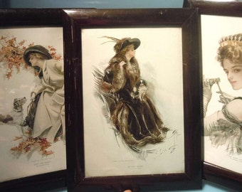 3x Original Harrison Fisher prints in 1911 signed 1913