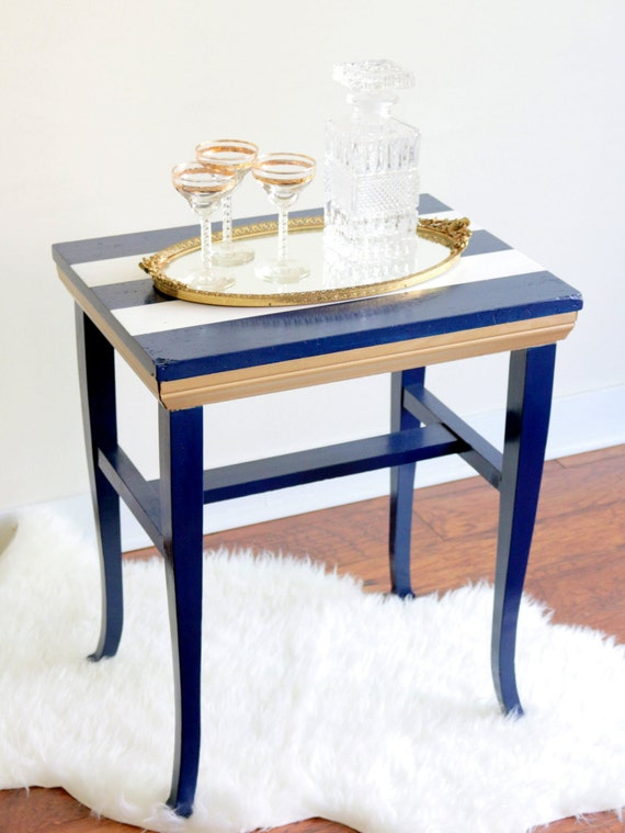 items similar to upcycled nautical side cocktail table navy blue white and gold table vintage. Black Bedroom Furniture Sets. Home Design Ideas