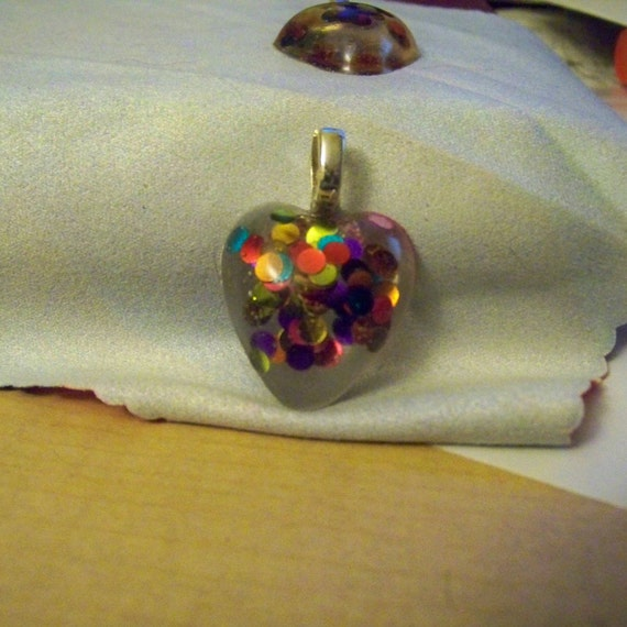 Pendant - Heart Small Multi Colored Confetti