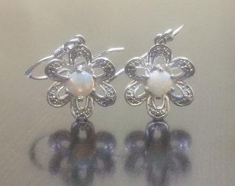 Opal Earrings - Opal Diamond Earrings - Opal Drop Earrings - Silver Opal Dangling Earrings - Diamond Opal Earrings - Silver Opal Earrings