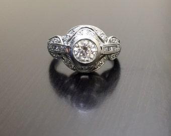 Art Deco Platinum Diamond Engagement Ring - Platinum Diamond Wedding Ring - Hand Engraved Platinum Ring - Platinum Art Deco Diamond Ring