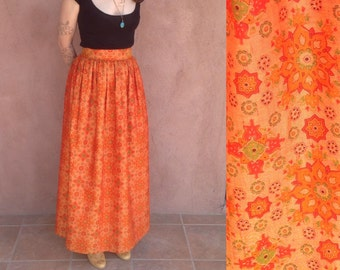 Vintage 70s Orange Mandala Maxi Skirt / High waist Column Skirt