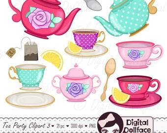 Tea Cup Clip Art, Tea Party Bridal Shower Clipart, High Tea, Teapot, Tea Set