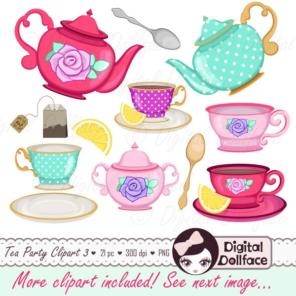 Tea Cup Clip Art Tea Party Bridal Shower Clipart High Tea