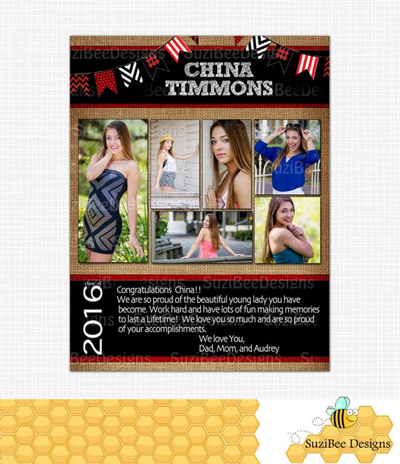Yearbook ad template burlap high school senior middle for Yearbook ad templates free
