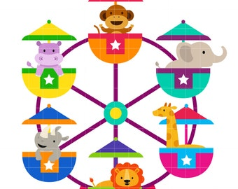 Animal Ferris Wheel Clip Art for Scrapbooking Card Making Cupcake Toppers Paper Crafts