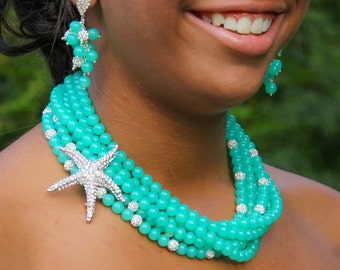 Bridal Necklace Chunky Pearl Necklace Starfish Necklace Teal Bridesmaid Jewelry Beach Wedding Jewelry Statement Wedding Necklace Starfish
