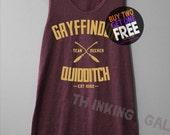 Gryffindor Quidditch Shirt Harry Potter Shirts Tank Top Tunic TShirt T Shirt Singlet - Size S M L XL