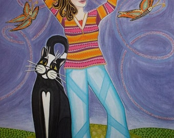Metamorphosis-Girl and Cat Limited edition print/titled,signed, mounted & wrapped