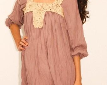 New Romantics Crochet Dress in Dusty Rose