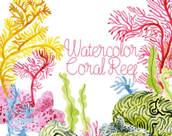 Watercolor Coral Reef, Corals Clip Art, Coral Reef Clipart, Ocean Clip art, Undersea Illustrations, Digital Download, Anemone, Seaweed Art