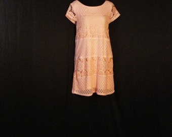 Boho Chic Crochet Mini Dress Orange Lace L