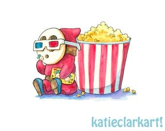 Shyguy at the Movies Print - Shy Guy Painting - Shy Guy 3D Glasses - Cinema Art - Nintendo Art -Mario Brothers Villain Print- Video Game Art