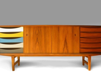 Danish mid century modern Teak Credenza Cabinet - FREE SHIPPING - Can be made in rosewood, too.