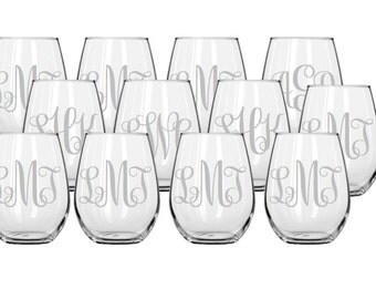 Set of 12 Monogrammed Stemless Etched Wine Glasses