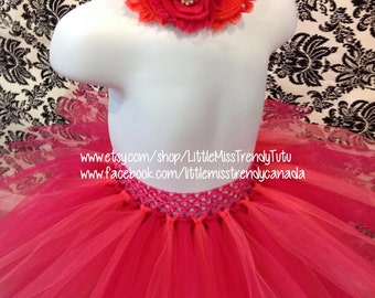 Hot Pink and Coral Tutu Set, Coral and Hot Pink Tutu and Headband, Hot Pink Tutu, Coral Tutu, Girls Tutu Skirts, Toddler Tutus, Coral Tutus