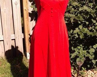 SALE Retro Red Ruffle Collar Neck Long Sleevless Dress Gown