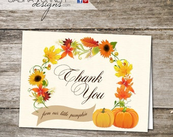 INSTANT DOWNLOAD • Fall Baby Shower Thank You Card • Autumn Thank You Card • Little Pumpkin Baby Shower Thank You Card