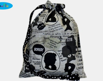 Project Bag | Knitting Bag | Drawstring Pouch | Sock Knitting Project Bag | Sherlock Bag