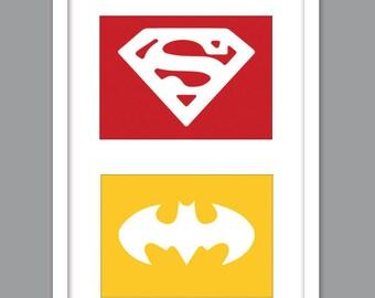 4 Superhero Icon Character Silhouettes for Nursery/Boys Nursery/Captain America/ Superman/ Spiderman/ Green Lantern -  Set of 4  - 5x7s