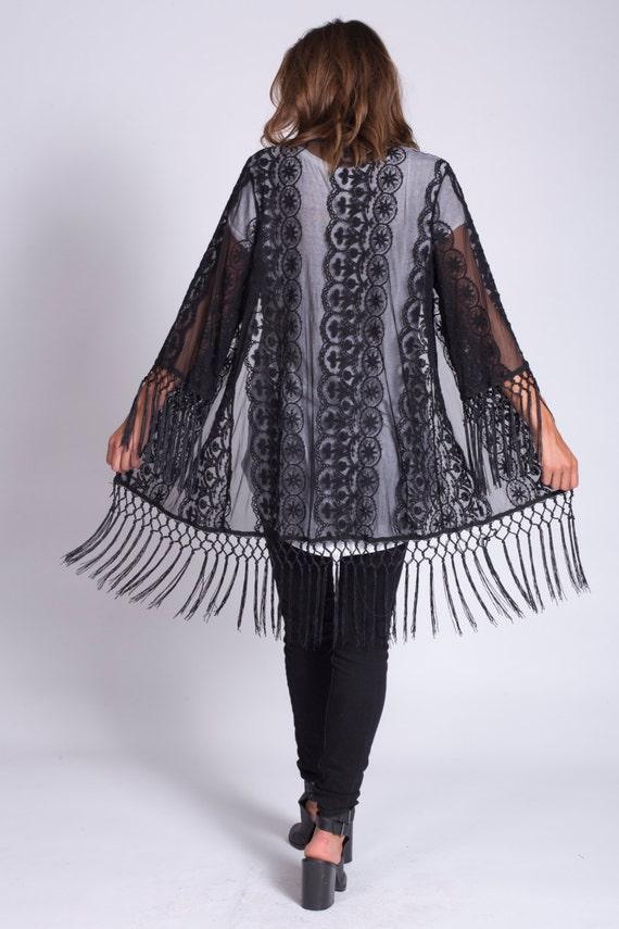 Lace Kimono Black | Boho
