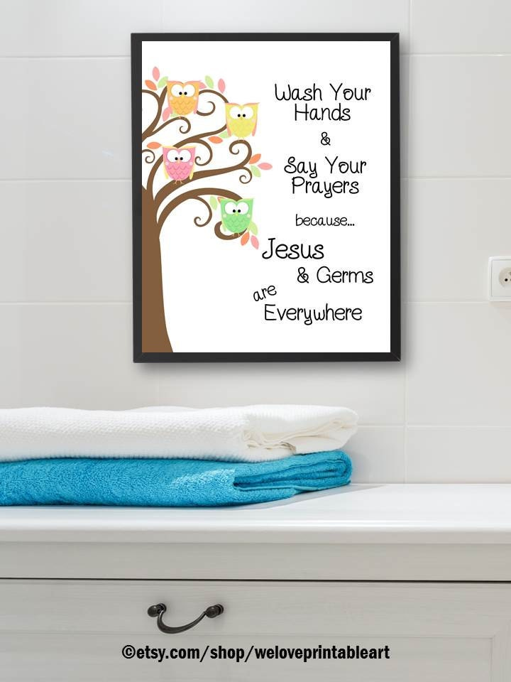 Kids Bathroom Art Owls Theme Kids Bathroom Decor Wall Art