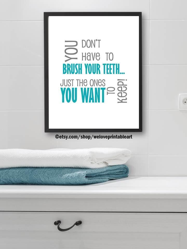 Bathroom Signs Brush Your Teeth brush your teeth sign funny bathroom art kids bathroom rules