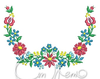 MACHINE EMBROIDERY DESIGN - Hungarian ornament, flower embroidery design, Floral ornament