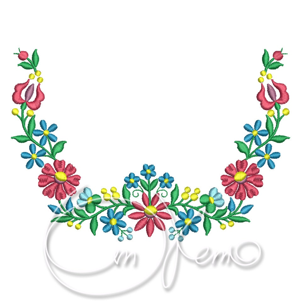 Machine embroidery design hungarian ornament flower