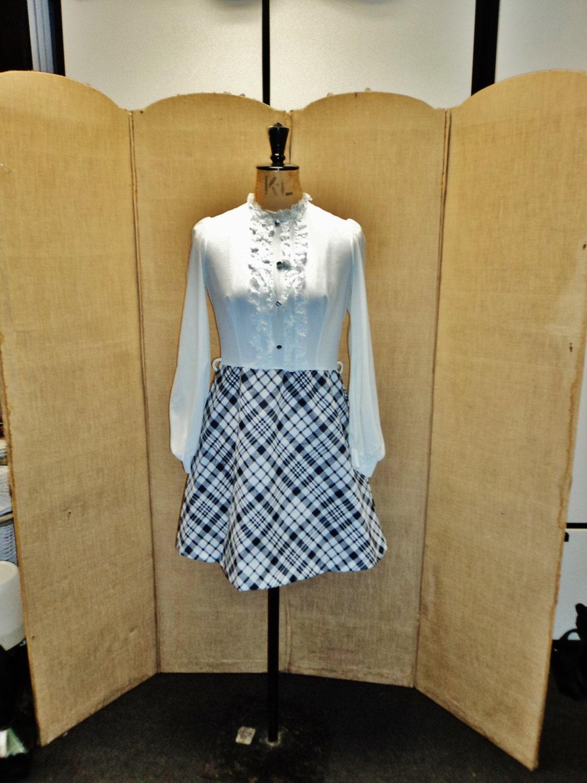 vintage black and white secretary dress size 12 uk 10 us one
