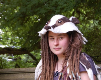 Felted badger hat