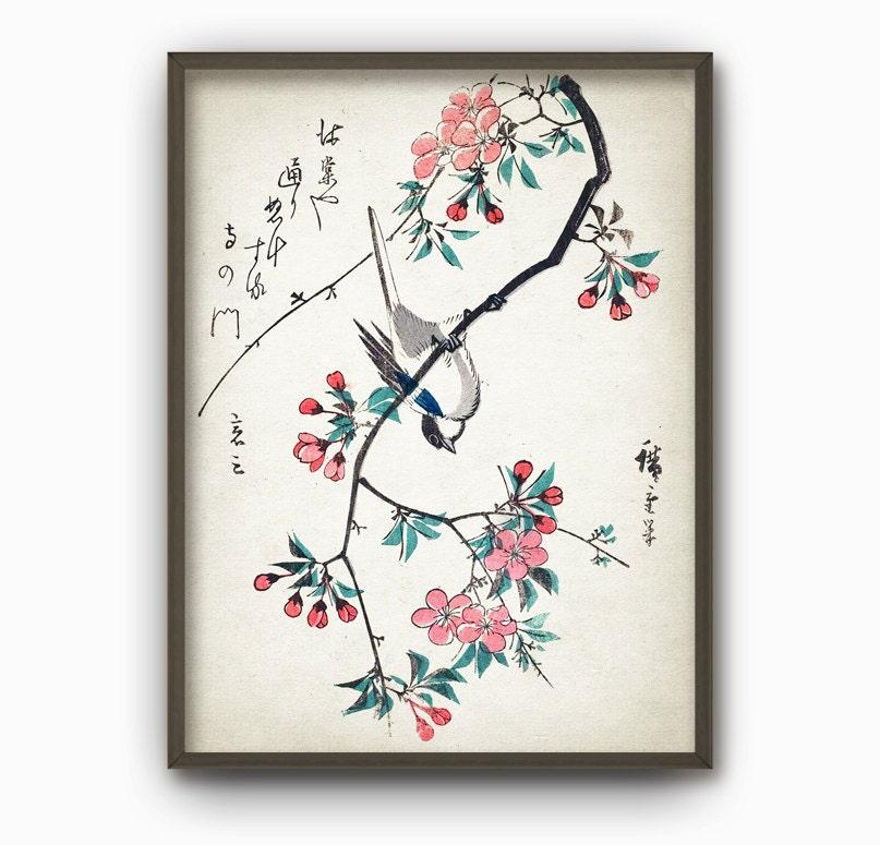 Japanese Bird Wall Art Poster Oriental Home Decor Japanese