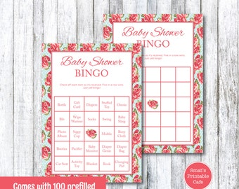 Shabby Chic Baby Shower Bingo Game with Pre-Filled & Blank Cards - Printable Baby Shower Games - Gender Neutral - Prefilled Bingo Cards