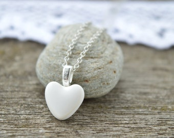 White heart pendant necklace, ceramic pendant necklace, minimalist heart jewelry, bridesmaid gift