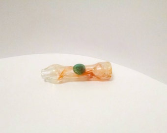 Orange & Blue Color Changing Skull Stamp Hand Blown Glass Tobacco Pipe Chillum