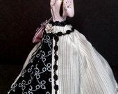 Porcelain Half Doll, Pincushion, Dresser Doll, Boudoir Doll, OOAK Signed & Dated, Mad Men Decor. 1950's fashion